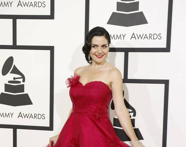 Children's artist Jennifer Gasoi arrives at the 56th annual Grammy Awards in Los Angeles